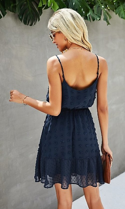 Image of Swiss dot spaghetti strap short casual party dress. Style: FG-SFN-21-LQ323S6199 Detail Image 4