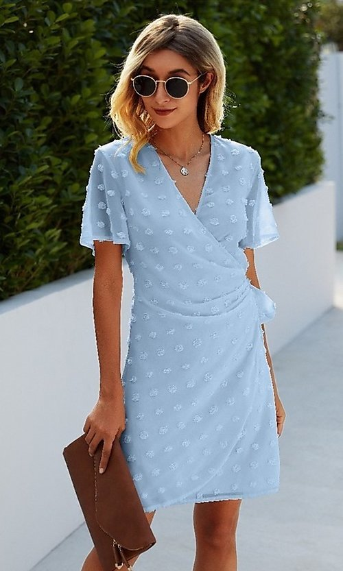 Image of short sleeve wrap-style wedding guest short dress. Style: FG-SFN-21-LQ322S4201 Front Image