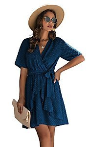 Image of short-sleeve wrap-style short casual party dress. Style: FG-SFN-21-SO711366 Front Image