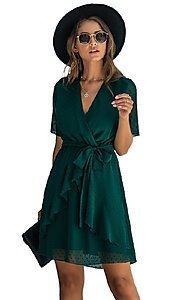Image of short-sleeve wrap-style short casual party dress. Style: FG-SFN-21-SO711366 Detail Image 2