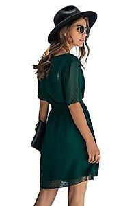 Image of short-sleeve wrap-style short casual party dress. Style: FG-SFN-21-SO711366 Detail Image 3