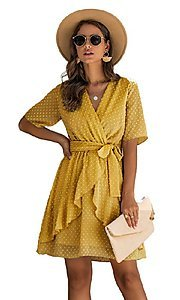 Image of short-sleeve wrap-style short casual party dress. Style: FG-SFN-21-SO711366 Detail Image 1