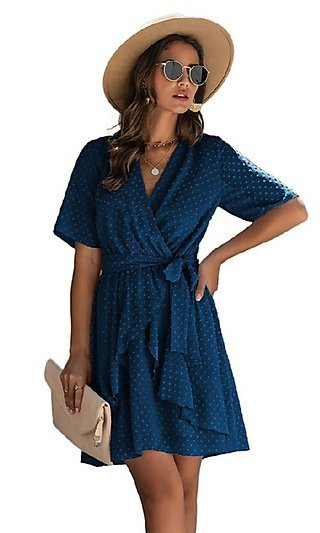 Short-Sleeve Wrap-Style Short Casual Party Dress