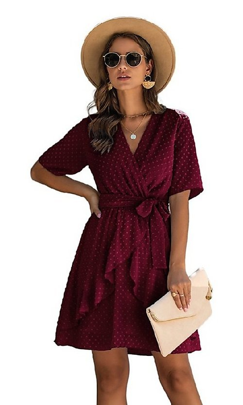 Image of short-sleeve wrap-style short casual party dress. Style: FG-SFN-21-SO711366 Detail Image 4
