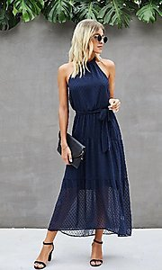 Image of Swiss dot casual halter midi dress in navy blue. Style: FG-SFN-21-LQ323S6190 Front Image