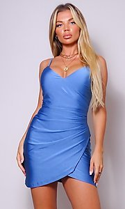 Image of wrap-style short sleek homecoming party dress. Style: LAS-CEF-21-CD20562 Detail Image 4