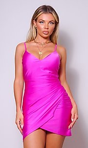 Image of wrap-style short sleek homecoming party dress. Style: LAS-CEF-21-CD20562 Front Image
