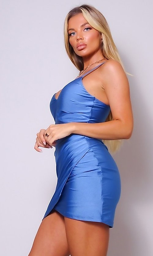 Image of wrap-style short sleek homecoming party dress. Style: LAS-CEF-21-CD20562 Detail Image 1