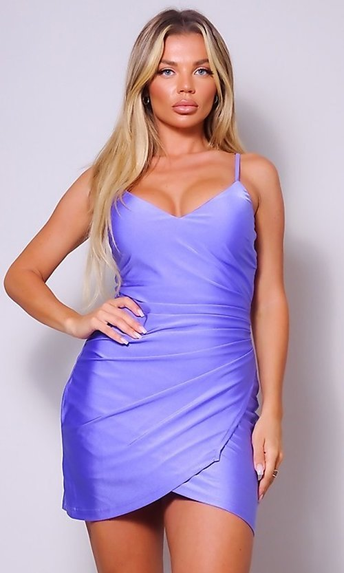 Image of wrap-style short sleek homecoming party dress. Style: LAS-CEF-21-CD20562 Detail Image 2