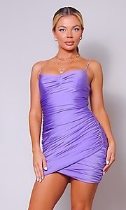 Image of short ruched sexy homecoming dress with tulip hem. Style: LAS-CEF-21-CD20776 Front Image