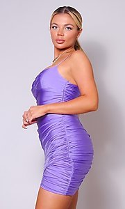 Image of short ruched sexy homecoming dress with tulip hem. Style: LAS-CEF-21-CD20776 Detail Image 4