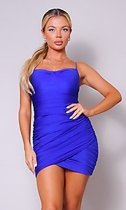 Image of short ruched sexy homecoming dress with tulip hem. Style: LAS-CEF-21-CD20776 Detail Image 2