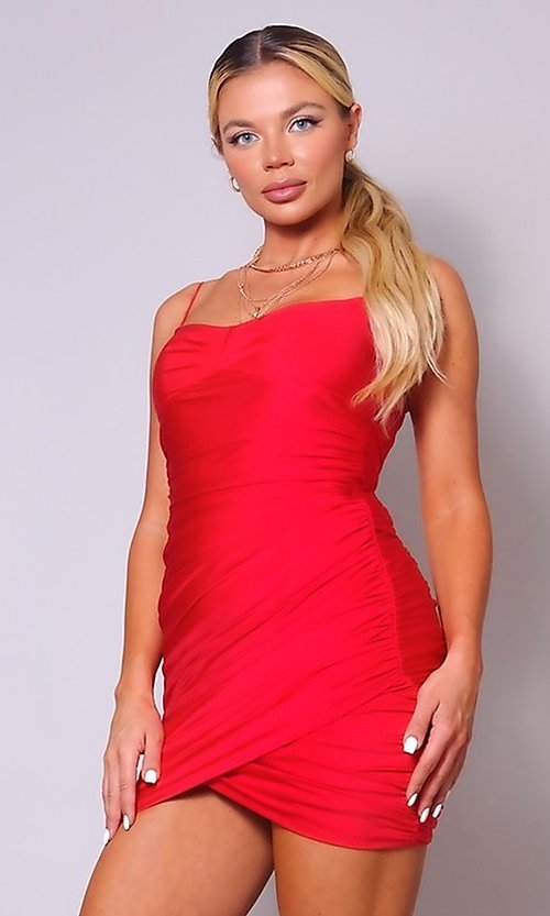 Image of short ruched sexy homecoming dress with tulip hem. Style: LAS-CEF-21-CD20776 Detail Image 1