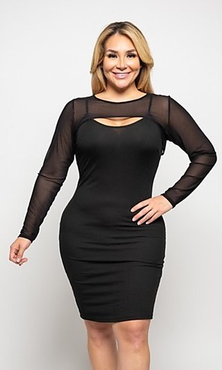 Black Fitted Plus-Size Homecoming Dress