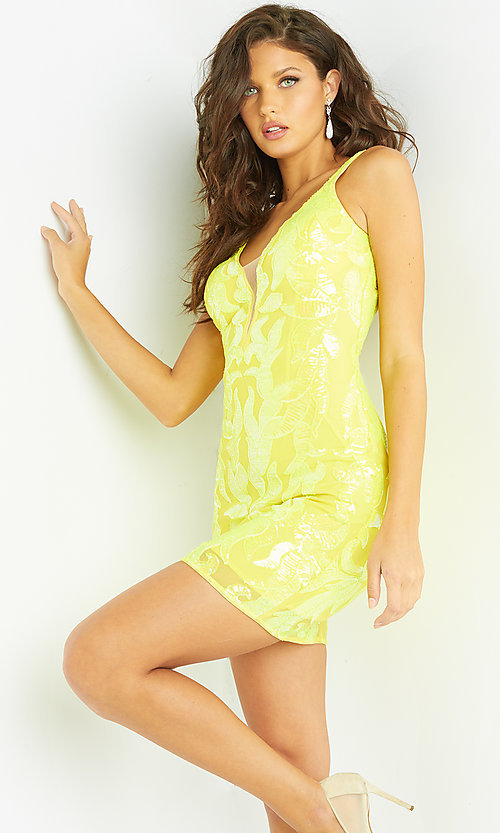Image of sequin bright short Jovani homecoming dress. Style: JO-21-07669 Detail Image 2