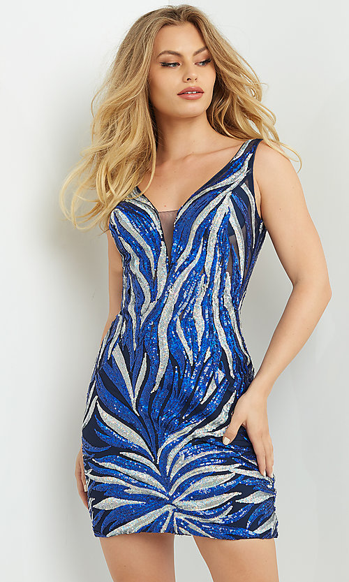 Image of navy & silver sequin short Jovani homecoming dress. Style: JO-21-08217 Front Image