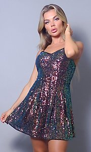 Image of short sequin v-neck homecoming dance dress. Style: LAS-CEF-21-CD20799 Front Image
