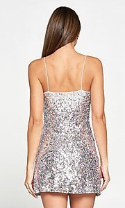 Image of short multi-color sequin sparkly party dress. Style: LAS-LOV-21-PD4226 Back Image