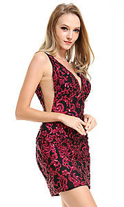 Image of short sequin Ava Presley homecoming dress. Style: AVA-21-25901 Detail Image 1