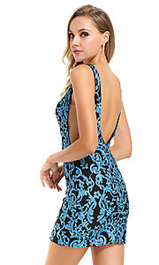 Image of short sequin Ava Presley homecoming dress. Style: AVA-21-25901 Back Image