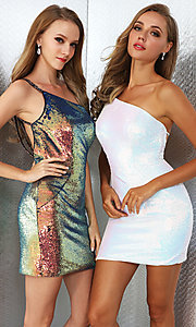 Image of short iridescent sequin Ava Presley hoco dress. Style: AVA-21-25903 Front Image