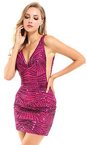 Image of sequin short pink homecoming dress by Ava Presley. Style: AVA-21-25906 Front Image