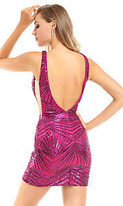 Image of sequin short pink homecoming dress by Ava Presley. Style: AVA-21-25906 Back Image