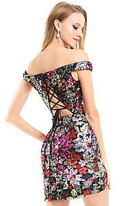 Image of floral sequin short Ava Presley homecoming dress. Style: AVA-21-25912 Back Image