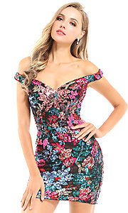 Image of floral sequin short Ava Presley homecoming dress. Style: AVA-21-25912 Front Image