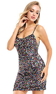 Image of short allover sequin Ava Presley homecoming dress. Style: AVA-21-25914 Detail Image 1