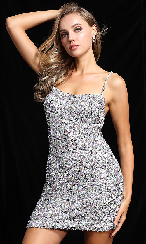 Image of short allover sequin Ava Presley homecoming dress. Style: AVA-21-25914 Detail Image 2