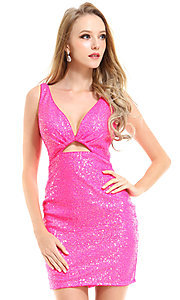 Image of Ava Presley short bright neon homecoming dress. Style: AVA-21-25917 Front Image