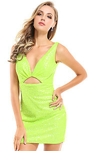 Image of Ava Presley short bright neon homecoming dress. Style: AVA-21-25917 Detail Image 1