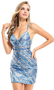 Image of sequin striped short Ava Presley homecoming dress. Style: AVA-21-25921 Detail Image 1