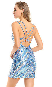 Image of sequin striped short Ava Presley homecoming dress. Style: AVA-21-25921 Back Image