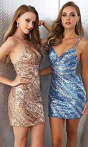 Image of sequin striped short Ava Presley homecoming dress. Style: AVA-21-25921 Front Image
