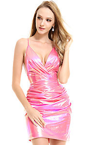 Image of metallic short homecoming dress by Ava Presley. Style: AVA-21-25937 Detail Image 1