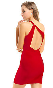 Image of cut-out short red homecoming dress by Ava Presley. Style: AVA-21-25952 Back Image