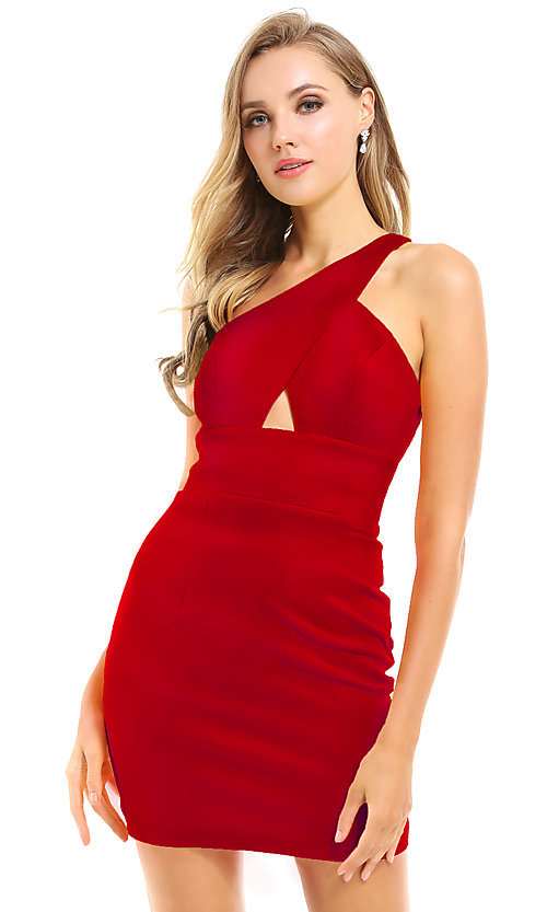 Image of cut-out short red homecoming dress by Ava Presley. Style: AVA-21-25952 Front Image