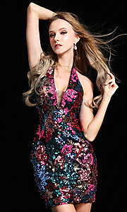 Image of sequin floral short Ava Presley homecoming dress. Style: AVA-21-25913 Front Image