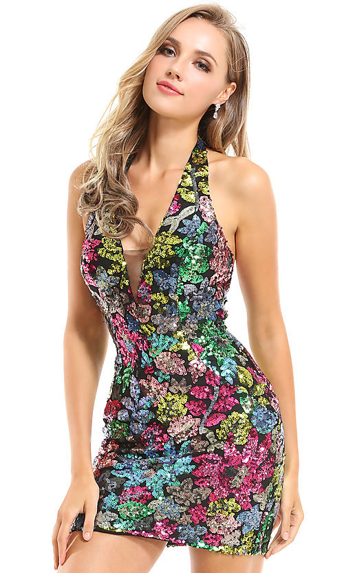 Image of sequin floral short Ava Presley homecoming dress. Style: AVA-21-25913 Detail Image 1