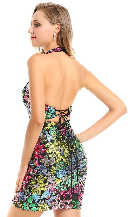Image of sequin floral short Ava Presley homecoming dress. Style: AVA-21-25913 Back Image