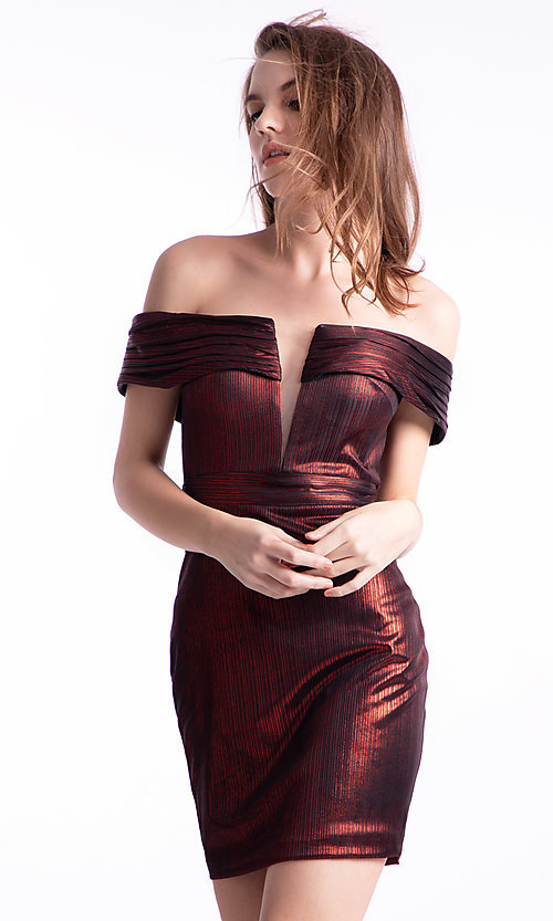 Image of off-the-shoulder short Ava Presley hoco dress. Style: AVA-21-24616 Front Image