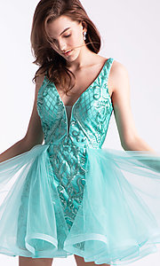 Image of sequin-bodice babydoll hoco dress by Ava Presley. Style: AVA-21-24638 Detail Image 2