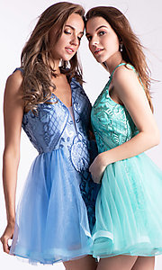 Image of sequin-bodice babydoll hoco dress by Ava Presley. Style: AVA-21-24638 Front Image