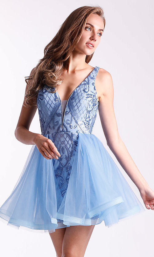 Image of sequin-bodice babydoll hoco dress by Ava Presley. Style: AVA-21-24638 Detail Image 1