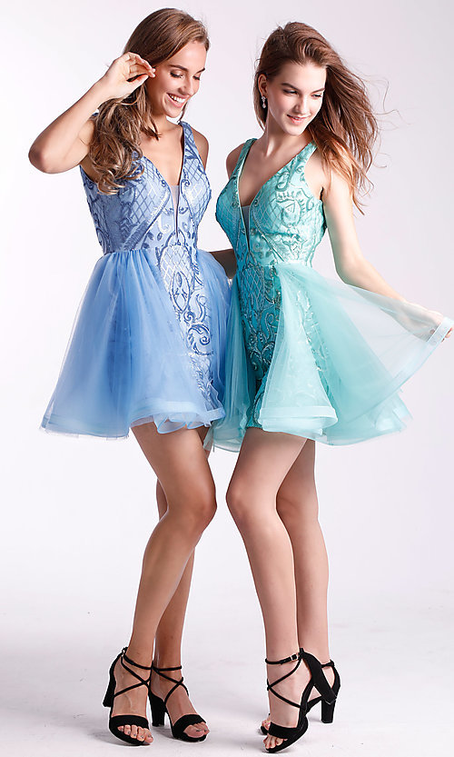 Image of sequin-bodice babydoll hoco dress by Ava Presley. Style: AVA-21-24638 Detail Image 3