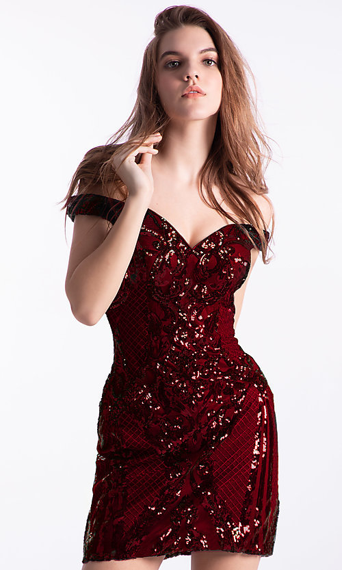 Image of off-shoulder short fancy hoco dress by Ava Presley. Style: AVA-21-24652 Detail Image 1