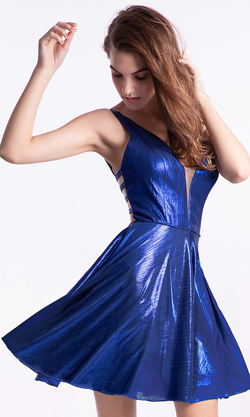 Image of Ava Presley statement-back short homecoming dress. Style: AVA-21-24654 Front Image