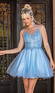 Image of beaded-bodice short prom dress with rolled hem. Style: DQ-21-3308 Front Image